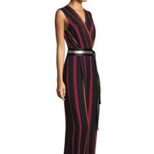 DVF Sleeveless Crossover Wide-Leg Striped Jumpsuit